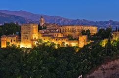Alhambra after sunset Royalty Free Stock Images