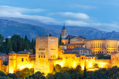 Alhambra at sunset in Granada, Andalusia, Spain Royalty Free Stock Photography