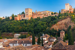 Alhambra at sunset in Granada, Andalusia, Spain Royalty Free Stock Images