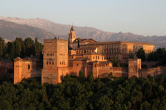 Alhambra during sunset, Granada, Spain Royalty Free Stock Photo