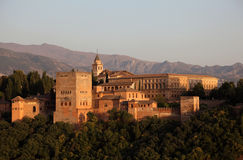 Alhambra at sunset. Spain Stock Photos