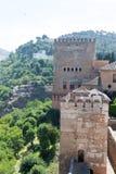 Alhambra sur la colline Photographie stock libre de droits