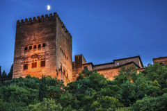 Alhambra Tower Moon Albaicin Granada Andalusia Spain Royalty Free Stock Photo
