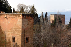 Alhambra Towers. Towers and Trees at the Alhambra Palace, Granada, Spain Stock Images