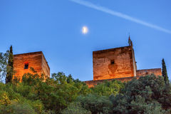 Alhambra Towers Moon Flags Albaicin Granada Andalusien Spanien Stockfoto