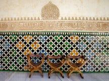 Alhambra tres sillas Imágenes de archivo libres de regalías