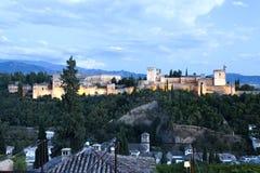 Alhambra At Twilight royalty-vrije stock afbeeldingen
