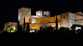 Alhambra van Granada, nacht royalty-vrije stock foto