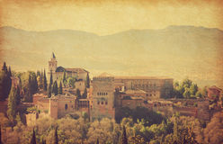 Alhambra. View of the Alhambra from the Albayzin of Granada,  Andalusia, Spain Royalty Free Stock Images