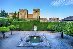 Alhambra Wall Towers Fountain Garden Granada Andalusia Spain Stock Photography