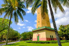 Alhambra Water Tower. Coral Gables, FL USA - April 4, 2015: The beautifully restored Alhambra Water Tower in the Spanish style influenced neighborhood of Coral stock images