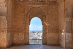 Alhambra window, Granada, Spain Stock Images