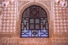 Alhambra Window Moorish Wall Designs Granada Andalusia Spanien royaltyfri bild