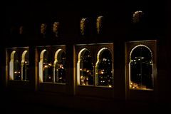 alhambra Windows νύχτας Στοκ εικόνα με δικαίωμα ελεύθερης χρήσης