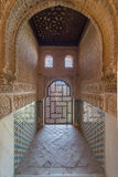 Alhambra. Windows in Alhambra castle, beautifil wall decorations Stock Photography