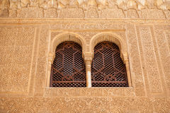 Alhambra windows showing fine moorish detail Stock Photos