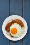 Alheira with egg Royalty Free Stock Photos