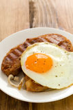 Alheira with fried egg royalty free stock images