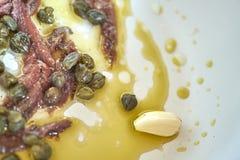 Alho, anchovas e alcaparras Imagens de Stock Royalty Free