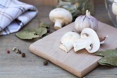 Alho, cogumelos e especiarias Imagens de Stock Royalty Free