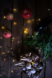 Alho com maçãs em um fundo de madeira Imagem de Stock