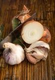 Alho e cebolas Imagem de Stock Royalty Free