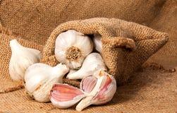 Alho e cravos-da-índia de alho inteiros em um saco Imagem de Stock