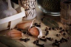 Alho e especiarias frescos Imagem de Stock