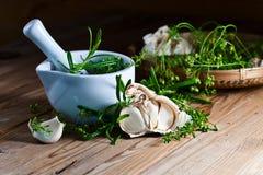 Alho e especiarias verdes Foto de Stock