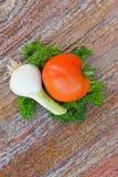 Alho e tomate Imagem de Stock