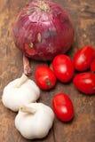 Alho e tomates da cebola Imagem de Stock Royalty Free