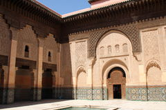 Ali Ben Youssef Madrasa. Entrance Door in the courtyard of Ali Ben Youssef Madrasa, Marrakech, Morocco Stock Image