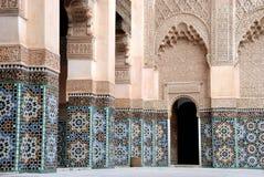 Ali Ben Youssef Madrassa em C4marraquexe, Marrocos Fotografia de Stock Royalty Free