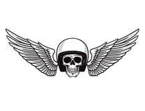 Ali del casco del cranio Progettazione monocromatica del motociclo d'annata per i grafici della maglietta Emblema del motociclo e Immagini Stock