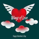Ali di amore Insieme delle icone di giorno del ` s del biglietto di S. Valentino Grande cuore rosso con due ali in nuvole nel cie royalty illustrazione gratis