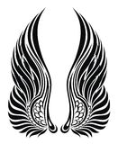 Ali di angelo isolate su bianco. Disegno del tatuaggio Fotografie Stock