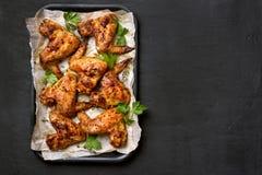 Ali di pollo arrostite Fotografia Stock