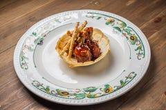 Ali di pollo con salsa barbecue Fotografia Stock