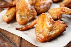 Ali di pollo cotte Fotografia Stock