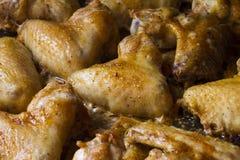 Ali di pollo cotte Fotografie Stock
