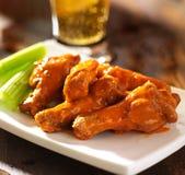 Ali di pollo della Buffalo con birra Immagine Stock