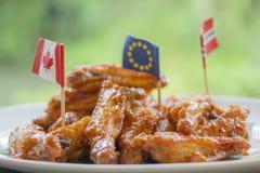 Ali di pollo fritto Immagini Stock Libere da Diritti