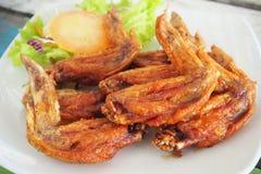 Ali di pollo fritto deliziose Fotografia Stock Libera da Diritti