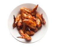 Ali di pollo isolate su fondo bianco Immagini Stock Libere da Diritti