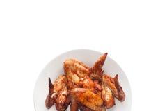 Ali di pollo isolate su fondo bianco Fotografia Stock Libera da Diritti