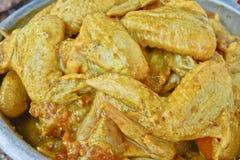 Ali di pollo marinate Fotografia Stock Libera da Diritti