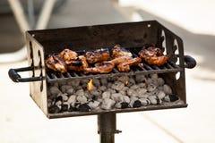 Ali di pollo su un barbecue Fotografie Stock