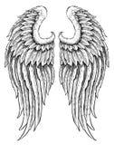 Ali disegnate a mano di angelo Fotografie Stock