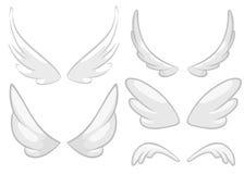 Ali disegnate a mano di angelo, del fatato o dell'uccello messe Elementi di disegno descritti isolati su fondo bianco Illustrazio Fotografia Stock Libera da Diritti