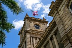 Ali`iolani Hale clock tower, Honolulu Hawaii stock images